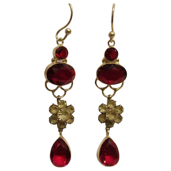 Antique Edwardian Sterling Silver Garnet & Paste Long Dangle Pierced Earrings