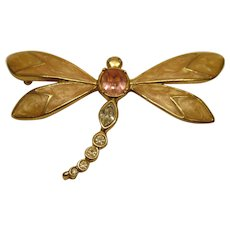 Vintage Signed KJL for AVON Enamel Crystal Butterfly Pin Broach