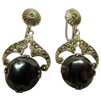 Art Deco Signed UNCAS Sterling Silver Marcasite Hematite Screw Back Earrings
