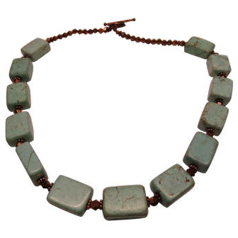 Vintage Unique Turquoise Rectangular Bead Necklace