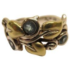 Vintage Signed Barbara Bixby Sterling Silver 18 K Gold Floral Leaf Ring Sz 8