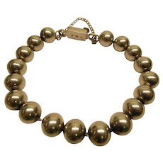 Vintage Sterling Silver Bead Bracelet 34.2 Grams