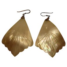 Vintage Mother of Pearl Hand Carved Sterling Silver Pierced Earrings