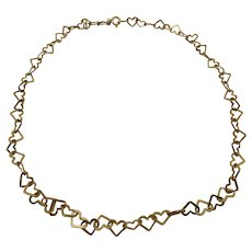 Vintage Sterling Silver Milor Italy Open Heart Link Necklace