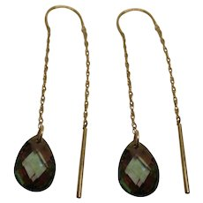 Vintage Signed ZZ Mystic Topaz 14 K White Gold Dangle Pierced Earrings