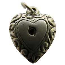 Vintage Mini Sterling Silver Repousse Puffy Hearts Charm