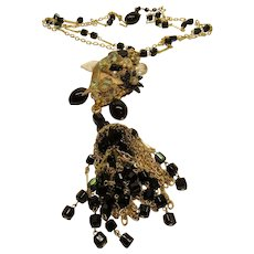 Vintage Stanley Hagler Black Bead AB Crystal Tassel Pendant Necklace