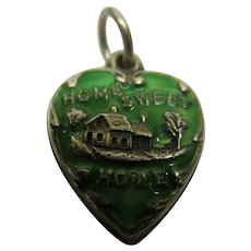 Vintage Enamel Sterling Silver Home Sweet Home Puffy Heart Charm