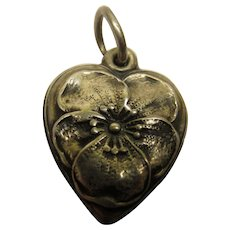 Vintage Pansy Sterling Silver Puffy Heart Charm
