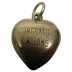 Vintage CONGRATULATIONS Sterling Silver Puffy Heart Charm