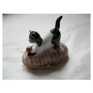 Limoges Signed Hand Painted Porcelain Cat Playing with Ball Box