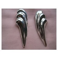 Vtg. Taxco Mexico Hand Made Sterling Silver Pierced Earrings
