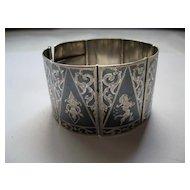 Vintage Siam Sterling Silver Niello Bracelet--Intricate Detail