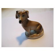 Vintage Zsolnay Hand Painted Porcelain Dachshund Dog Figurine