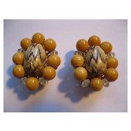Vintage Signed Hobe Clip Earrings--Peach Tone & Crystal Stones