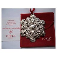 Towle Sterling Old Master Snowflake Ornament--1991--2nd edition