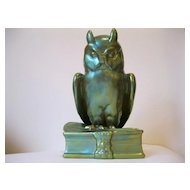 Large Vintage Zsolnay Green Eosin Owl on Book--11.25 inches high