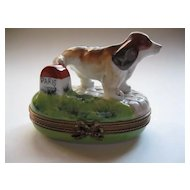 Beagle Lifting Leg Limoges Box--Hand Painted and Signed
