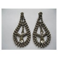 Vintage Long Rhinestone Clip Earrings--Length 2.75 inches