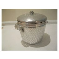 "Vintage Hammered Aluminum Ice Bucket ""Wild Rose"" Brilliantone"