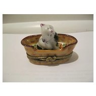 Cat In Basket Signed Hand Painted Limoges Box