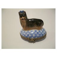 Limoges Yorkshire Terrier on a Blue Checked  Box  Hand Painted and Signed