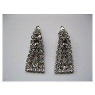 Vintage Rhinestone Long Clip Earrings
