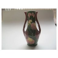 Vintage Majolica Green Flowered Vase