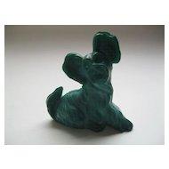 Vintage Signed Moser Karlsbad Green Malachite Terrier Dog Figurine