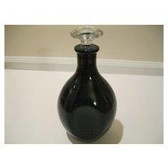 Vintage Black Amethyst Glass Decanter