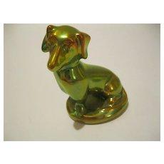 Vintage Zsolnay Green Gold Eosin Dachshund Dog Figurine