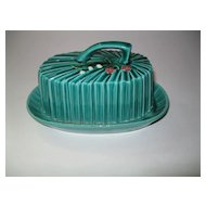 Vintage Majolica Green Butter Dish