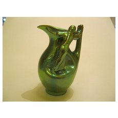 Rare Vintage Zsolnay Green Eosin Pitcher with Two Women