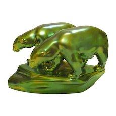 Vintage Signed Zsolnay Green Gold Eosin Polar Bears Figurine
