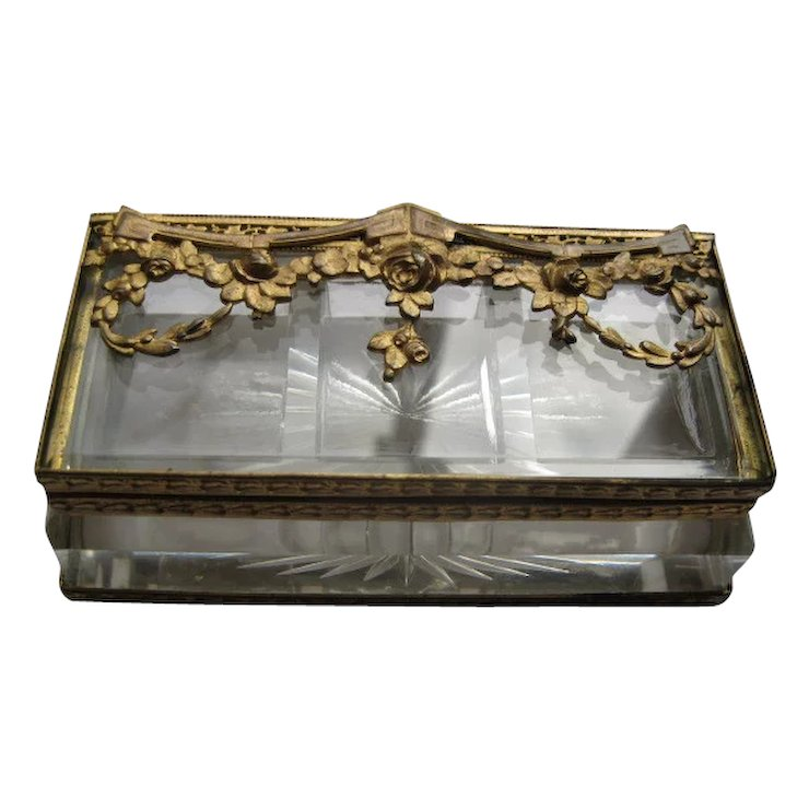 Antique Victorian Cut Glass Stamp Box with Gold Gilt Frame : The ...