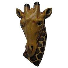 Sergio Bustamante Large Sterling Silver & Paper Mache Giraffe Pin Pendant
