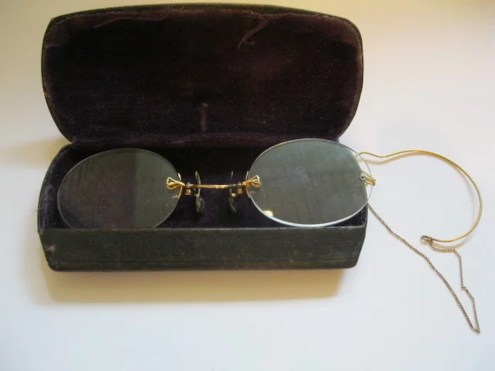 d168c6806ef6 Antique Rimless 12K Rimless Pince Nez Eye Glasses With Case   The ...