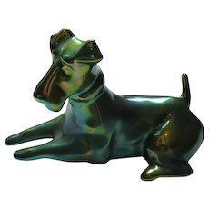 Vintage Zsolnay Green Eosin Terrier Figurine
