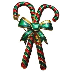 Signed AAio Enameled Candy Cane Pin Broach