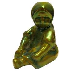 1920-1940 Zsolnay Eosin Child Figurine Designed by Andras Sinko Book Piece