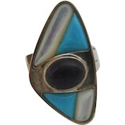 Signed DTR Jay King Sterling Silver Turquoise Amethyst MOP Ring Sz 6.75