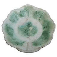 Antique Majolica Maple Leaf Pattern Bowl Plate