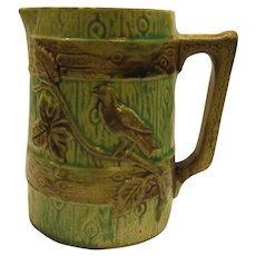 Antique English Majolica Bird On Fence Pitcher