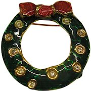 Vintage Signed LIA Jeweled Enamel Christmas Wreath Pin Broach