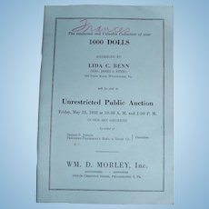 1958 Doll Auction Catalog of Lida Benn Collection PA Auctioneer Wm Morley