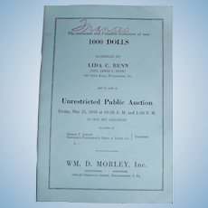 1958 Doll Auction Catalog From PA Auctioneer Wm Morley