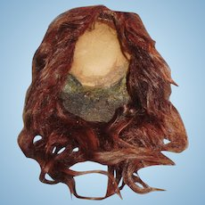 Antique German Brown Mohair Doll Wig With Original Pate