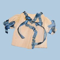 Antique Hand Stitched White and Blue Silk Ribbon Doll Jacket
