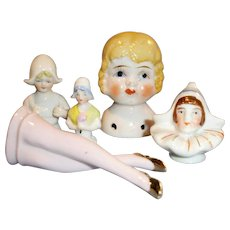 Group Antique German And Japan China Half Dolls