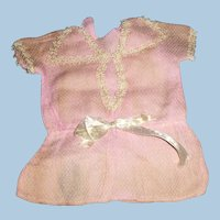 Antique German Factory Made Pink Cotton And Lace Doll Dress